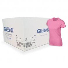 Camiseta Gildan rosado azalea de mujer CAJA POR 72 UNIDADES