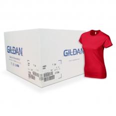 Camiseta Gildan roja de mujer CAJA POR 72 UNIDADES