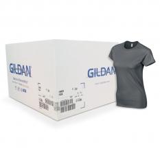 Camiseta Gildan gris oscuro de mujer CAJA POR 72 UNIDAD