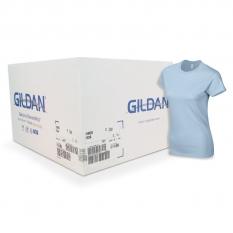 Camiseta Gildan azul claro de mujer CAJA POR 72 UNIDAD
