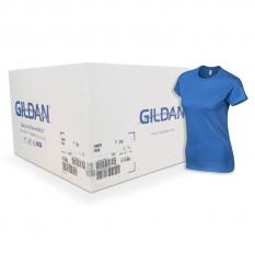 Camiseta Gildan azul rey de mujer CAJA POR 72 UNIDAD