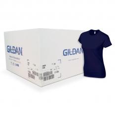 Camiseta Gildan azul oscuro de mujer CAJA POR 72 UNIDAD
