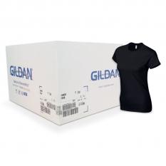 Camiseta Gildan negra de mujer CAJA POR 72 UNIDAD