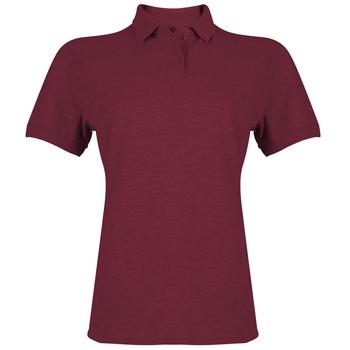 ae2d4c0b47f2b Camiseta tipo polo Gildan vinotinto de mujer Heavy Cotton
